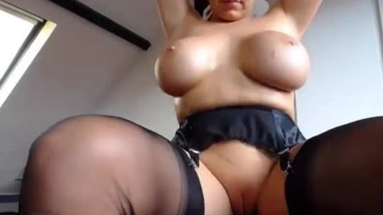 Busty milf shows her big breast and uses a vibrator